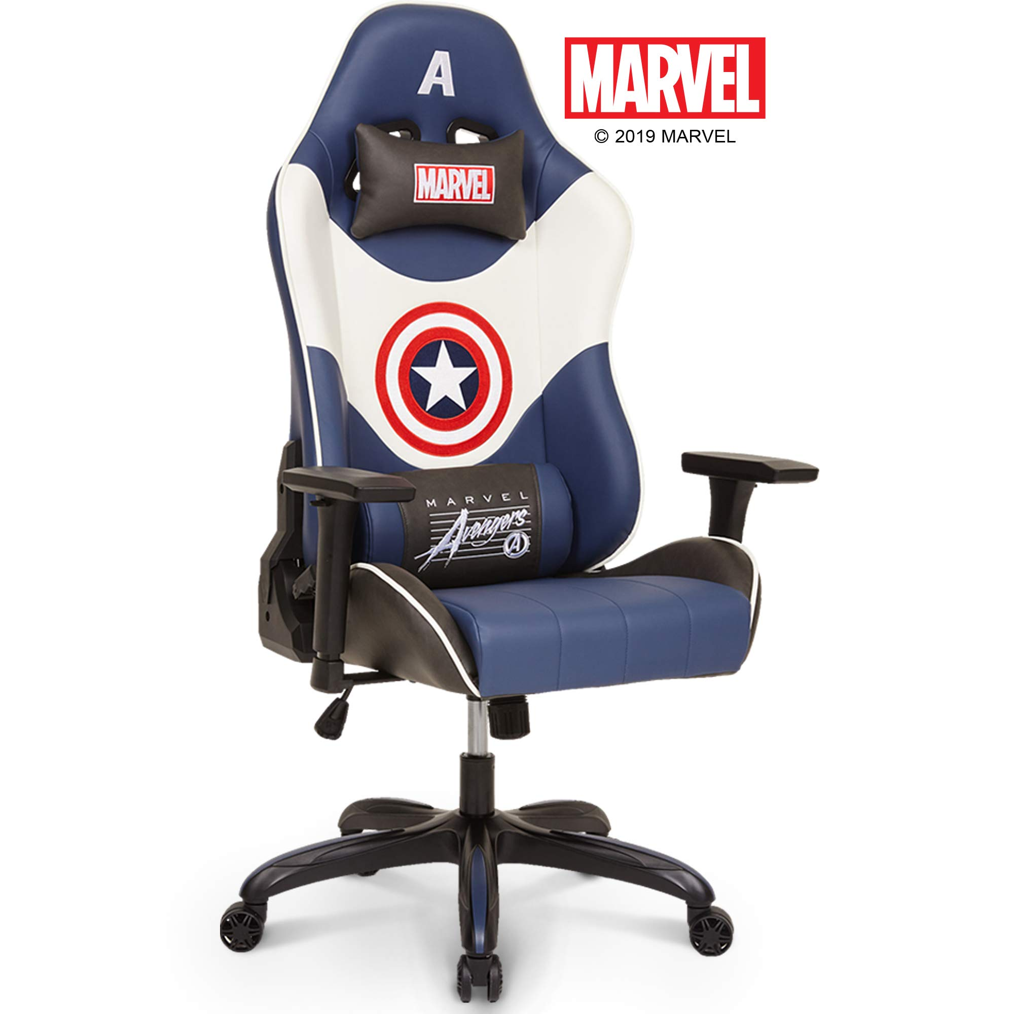 Neo Chair Licensed Marvel Captain America Gaming Chair 400 lb High End Ergonomic Neck Lumbar Support 4D Adjustable Armrest Recliner Computer Desk Office Executive Premium Leather Racing Chair, White by Neo Chair