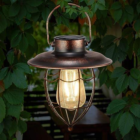 Solar Lantern Outdoor Hanging Vintage Solar Table Lamp Metal Waterproof Edison Bulb Solar Powered Lights LED for Garden Yard Pathway Tree Decoration