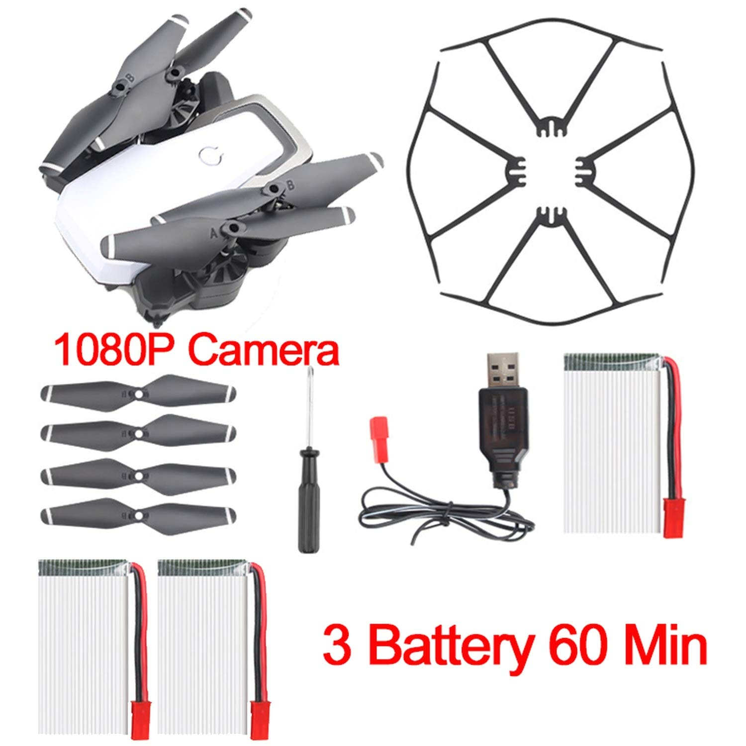 D8 Camera Drone 20 Mins Drone Battery 5MP FPV WiFi 1080P Drone with Camera HD Quadcopter Mini Drone Foldable,White 2 Batteries