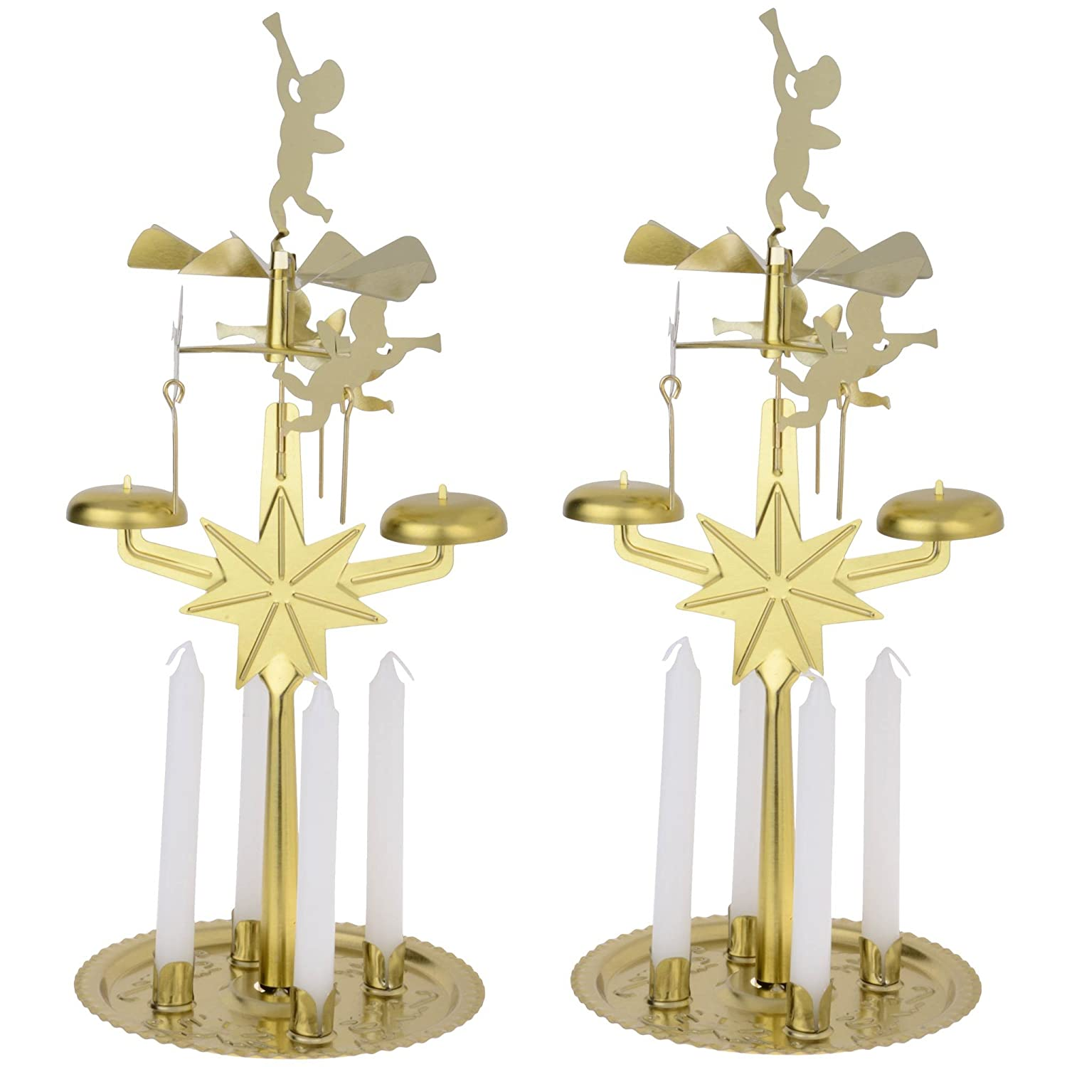 set of 2 gold angel carousel christmas candle chimes candles included height 27cm approx amazoncouk kitchen home