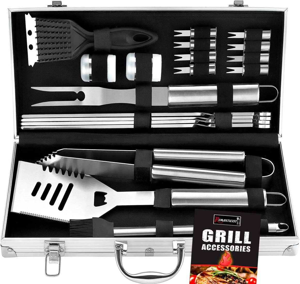 Best Grilling Accessories for Beginners: Romanticist 20pc Heavy Duty BBQ Grill Tool Set