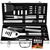 ROMANTICIST 20pc Heavy Duty BBQ Grill Tool Set in Case - The Very Best Grill Gift on Birthday Wedding - Professional BBQ Acce