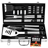 ROMANTICIST 20pc Heavy Duty BBQ Grill Tool Set in Case - The Very Best Grill Gift...