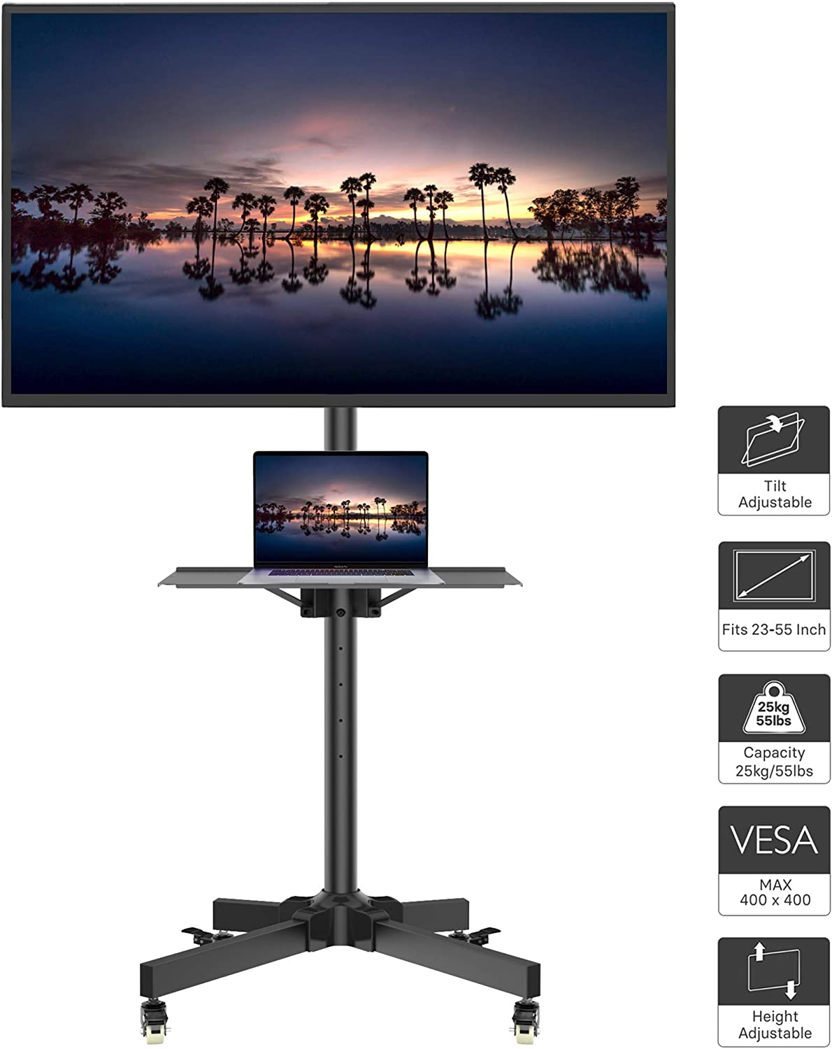 1home Mobile TV Cart Rolling TV Stand with Laptop Shelf/Tray, Locking Wheels for 23-55 inch LCD LED OLED Plasma Display Trolley Floor Stand Holds up to 55lbs Max VESA 400x400mm Black : Office Products