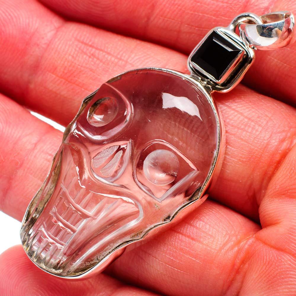 Ana Silver Co White Quartz Skull Bohemian Vintage PD672363 - Handmade Jewelry Black Onyx Pendant 2 3//8 925 Sterling Silver