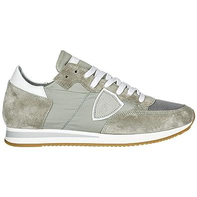 60e090cae3a Philippe Model Chaussures Baskets Sneakers Homme en Daim Tropez Gris EU 41  A1UNTRLU1116