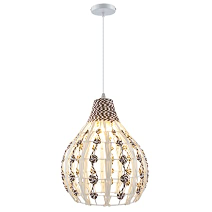 HAIXIANG Tropical Bamboo Chandelier Wicker Rattan Lamp Shades Weave ...