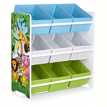 fb41d34bbb529 Rostrad KIDS CHILDRENS JUNGLE SAFARI 3 TIER TOY STORAGE SET 9 BINS BASKETS  BOOKS SHOES Rostrad ®