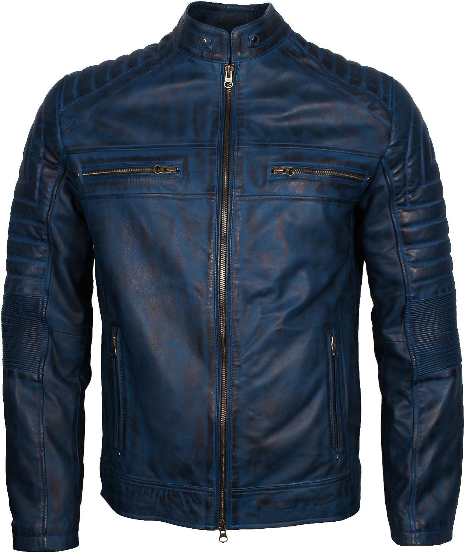 The Jacket Makers Mens Cafe Racer Motor Biker Leather Jacket