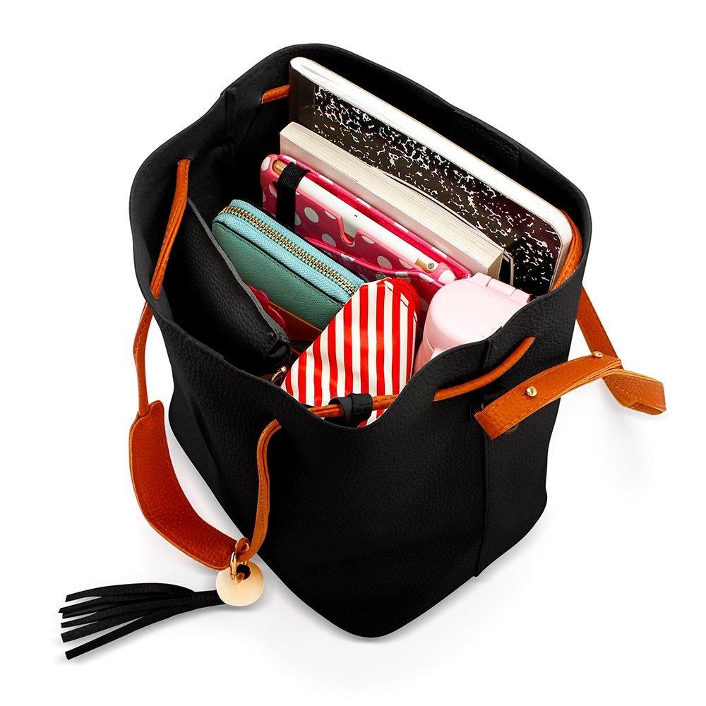 Oct17 Fashion Tassel buckets Tote Handbag, Women Messenger Hobos Shoulder Bags, Crossbody Satchel Bag - Black by OCT17 (Image #10)