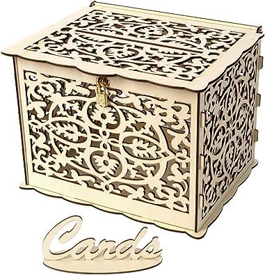 B Blesiya Caja de Tarjetas para Recepción de Boda Estuche de Almacenamiento de Cartas de Mensaje de Madera: Amazon.es: Joyería