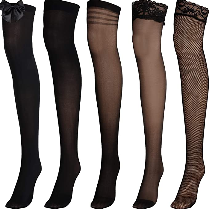 VARIOUS Fishnet Thigh High Stockings With Satin Bow Tops-Costume Hold Ups Outfit