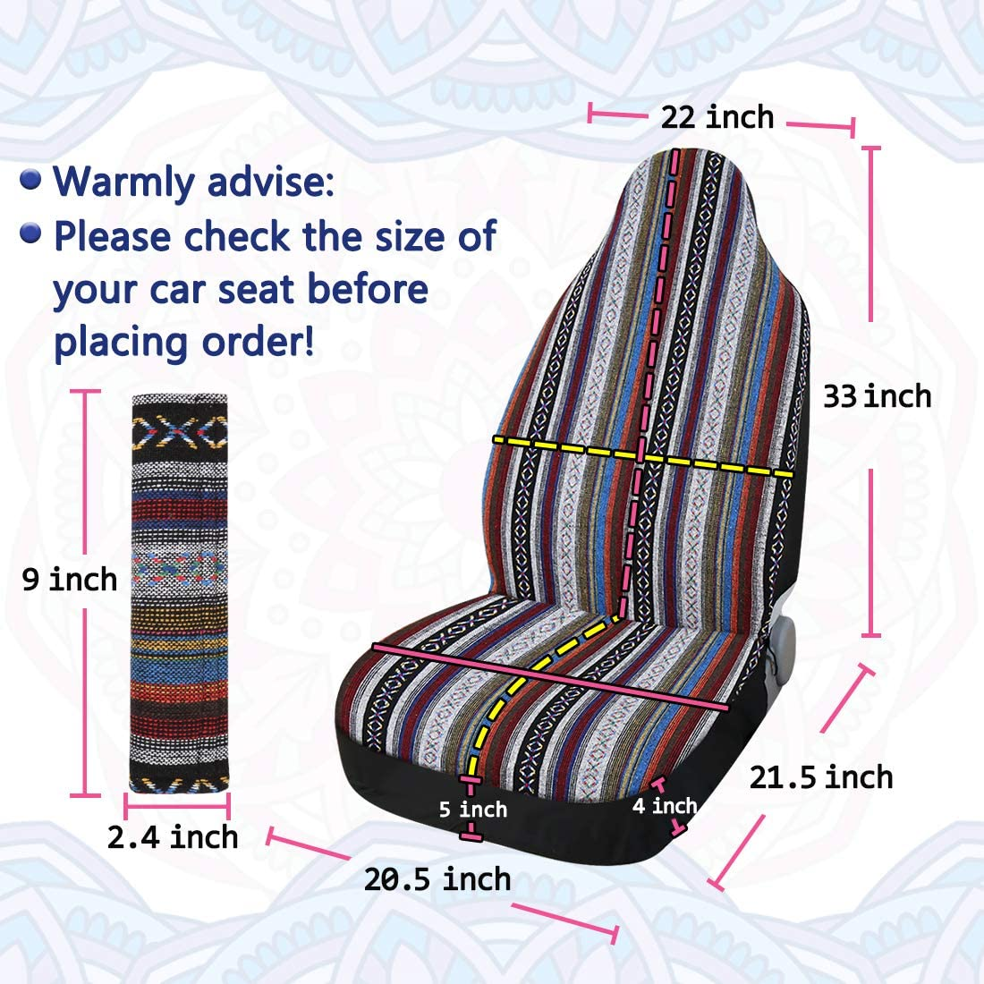 X AUTOHAUX 2 Pcs White Universal Front Seat Cover Saddle Blanket Bucket Seat Cover with Seat-Belt Pad Protectors for Car SUV Truck