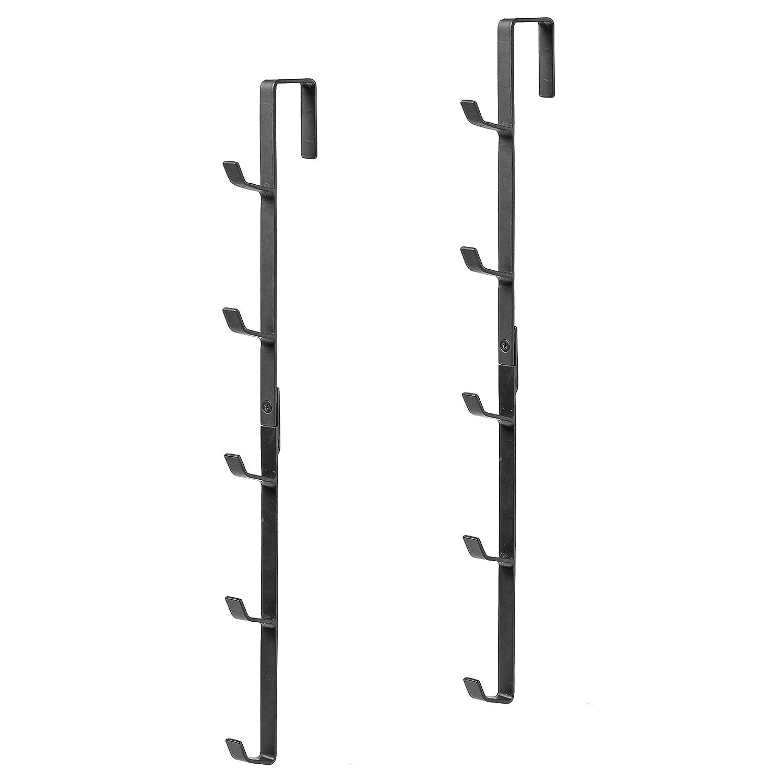 Set of 2 Hat /& Purse Rack with 5 Hooks MyGift Black Metal Over-The-Door Coat
