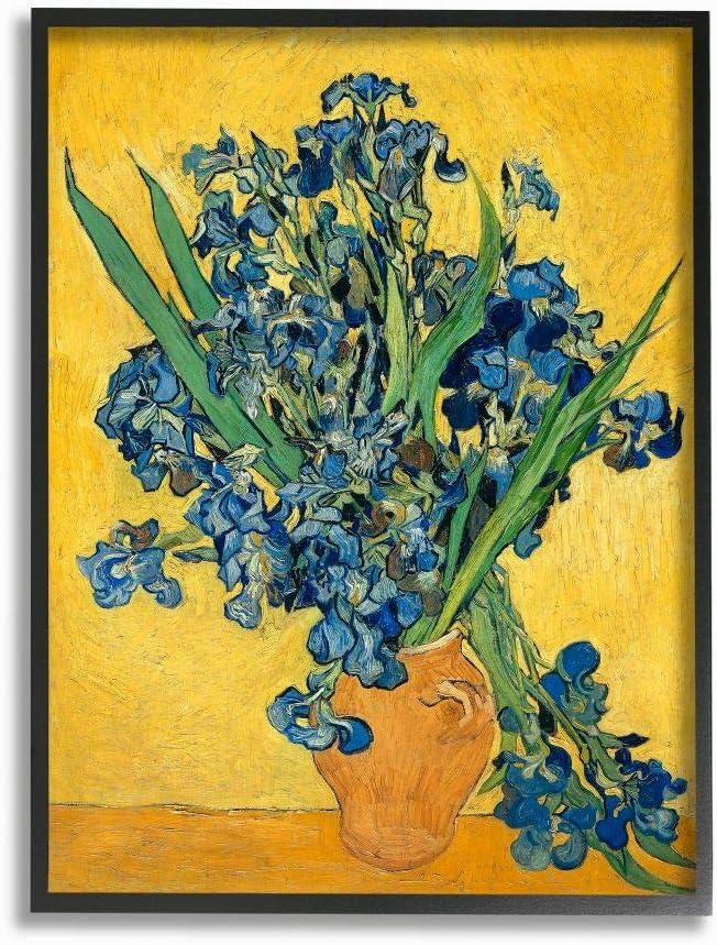 Stupell Industries Van Gogh Irises Post Impressionist Painting Black Framed Wall Art, 11 x 14, Multi-Color