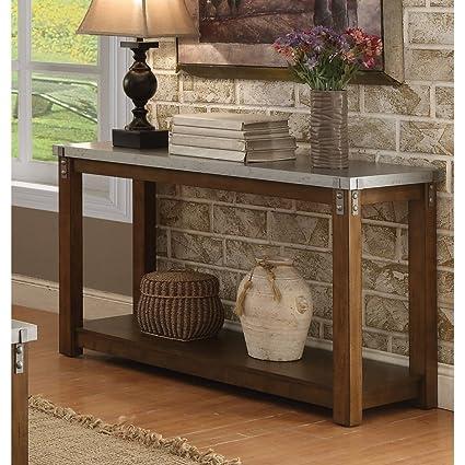 Beau Coaster Home Furnishings 704549 Galvanized Table Top Sofa Table, NULL