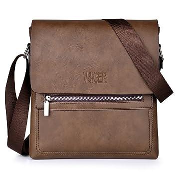 b6b3ac80c Vbiger Bolsa de Cuero Maletín de Negocios Bolsa de Moda Bandolera Bolso de Hombro  Bolso Casual para Hombres (Marrón(Cuero sintético)): Amazon.es: Equipaje