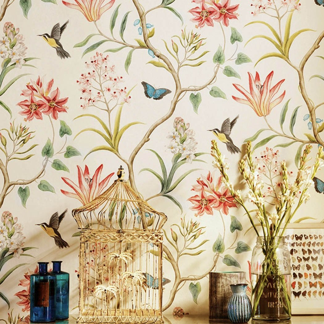American Country Rustic Peel and Stick Wallpaper Roll Vintage Floral Non-woven Self Ahesive Butterfly Birds Contact Paper Wall Paper for Bedroom Living Room Wall Art Decor 20.83'' x 117''