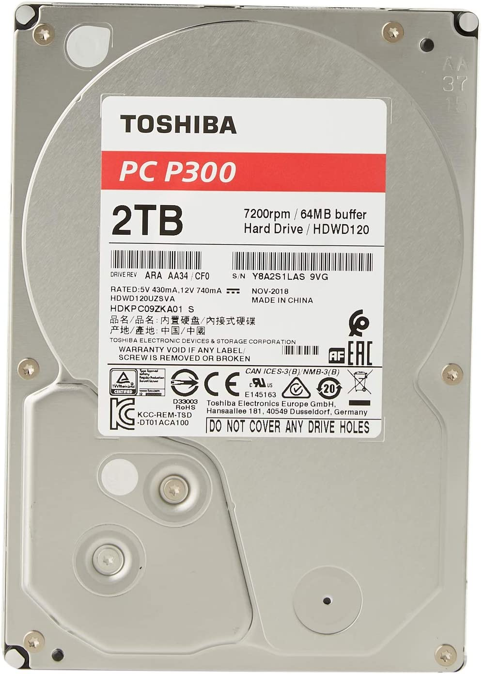 Toshiba P300 2 Tb Interne Festplatte 3 5 Zoll Schwarz Computer Zubehör