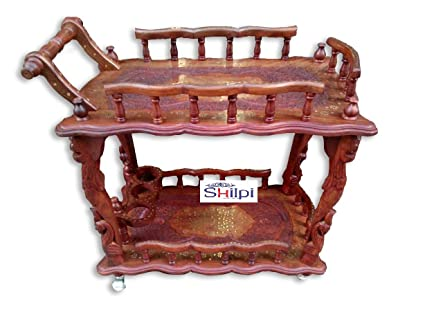 Shilpi Woods Handcarved Antique Style Wooden Service/ Bar Trolley