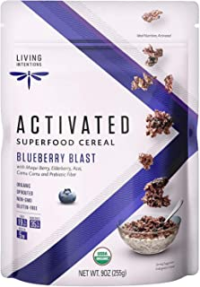 product image for Living Intentions Organic Superfood Cereal – Blueberry Blast – NonGMO – Gluten Free – Vegan Paleo – Kosher – 9 Ounce Unit