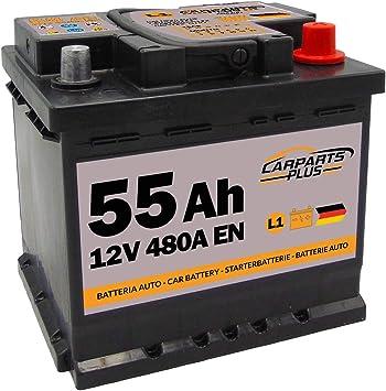 CARPARTS PLUS L155CARPARTS Batteria 55ah 480A 12V Polo DX: Amazon