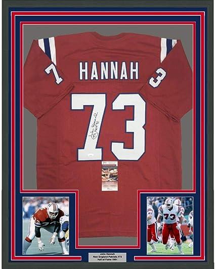 Framed Autographed/Signed John Hannah HOF 91 33x42 New England Red Football Jersey JSA COA