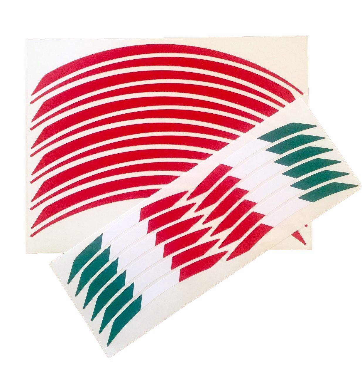 UNIVERSAL DUCATI APRILIA MV AGUSTA BENELLI MOTO GUZZI MOTORCYCLE WHEEL RIM STICKERS TRIM ITALIAN FLAG RED VINYL RACING WHEEL RIM