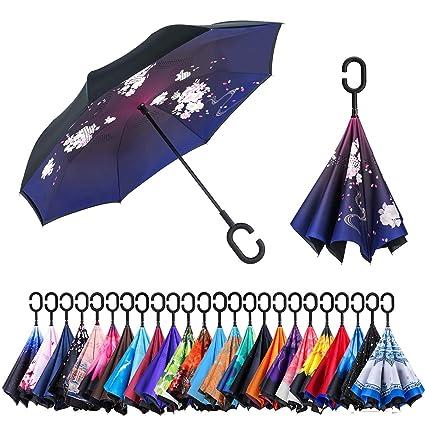 4e3e90e2e5cce Newsight Reverse/Inverted Double-Layer Waterproof Straight Umbrella,  Self-Standing & C