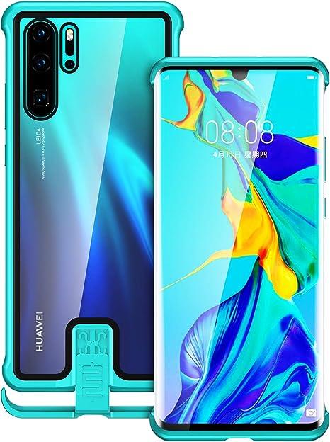 Jonwelsy - Carcasa para Huawei P30 Pro (6,47 pulgadas), diseño de pull-push, de metal antigolpes y Bumper, transparente de cristal templado para Huawei P30 Pro (verde): Amazon.es: Electrónica