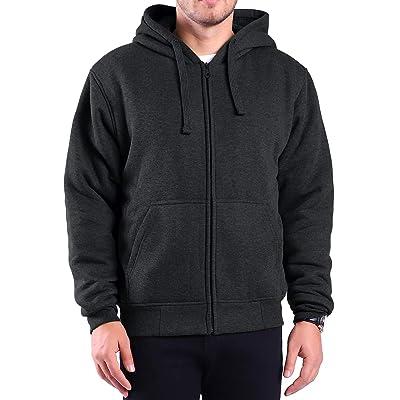Gary Com Heavyweight Hoodies for Men, 1.8lbs Sherpa Lined Fleece Full Zip Up Plus Size Winter Sweatshirts Jackets at Men's Clothing store