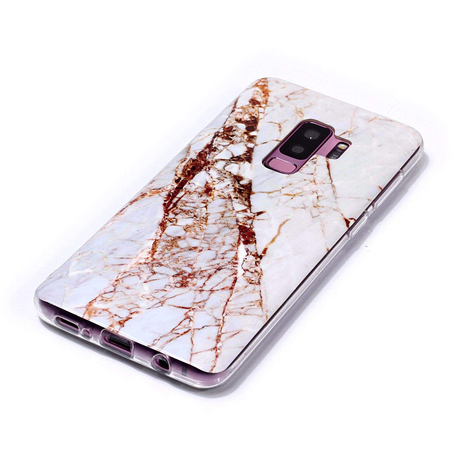 for Samsung Galaxy S9 Plus Marble Case with Screen Protector,Unique Pattern Design Skin Ultra Thin Slim Fit Soft Gel Silicone Case,QFFUN Shockproof Anti-Scratch Protective Back Cover - White by QFFUN (Image #3)