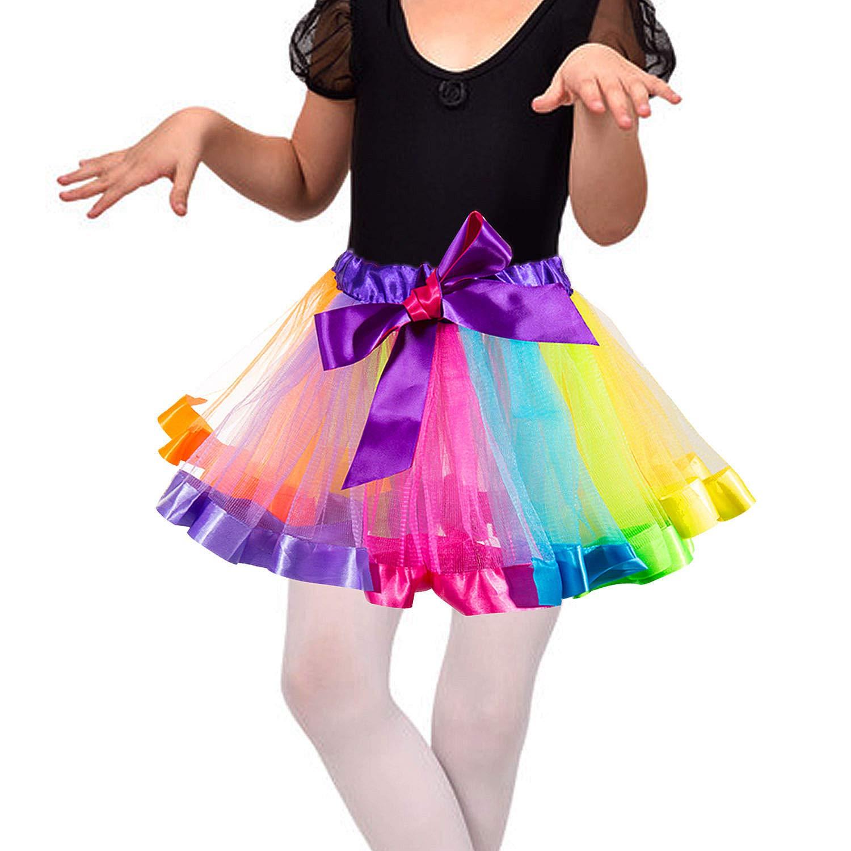 Wolintek Girls Rainbow Tutu Skirt Girls Layered Rainbow Dance Dress Costume Layered Dance Performance Party Skirt for Girls 4-6