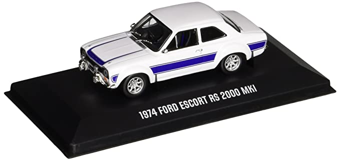 GreenLight 1974 Ford Escort RS 2000 MKL White with Blue Stripes Vehicle (1:43