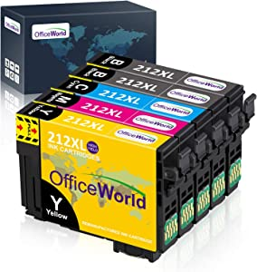 OfficeWorld Remanufactured Ink Cartridge Replacement for Epson 212 XL 212XL T212XL Used for XP-4100 XP-4105 WF-2830 WF-2850 Printer, 5-Pack (2 Black, 1 Cyan, 1 Yellow, 1 Magenta)