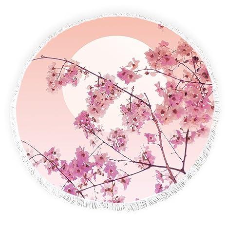 Yun Nist Toallas de playa redondas con borlas japonesas flor cerezo flecos círculo grueso gitano alfombra