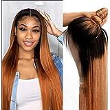 KAFEIER Ombre Straight 4X4 Lace Closure Wig Human Hair Wigs #1B30 2-Tone Brazilian Virgin Glueless 130 Density 9a Grade…