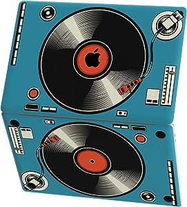 Mertak Vinyl Skin for Apple MacBook Air 13 inch Mac Pro 16 15 Retina 12 11 2020 2019 2018 2017 Print Vintage Laptop Sticker Graphic Wrap Blue Decal Keyboard Record Player Touch Bar Retro Top Music