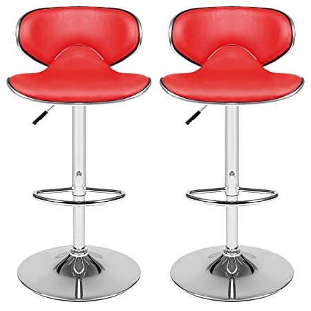 Homdox Bar Stool Adjustable Synthetic Leather Swivel Bar Chairs, Set of 2 Red