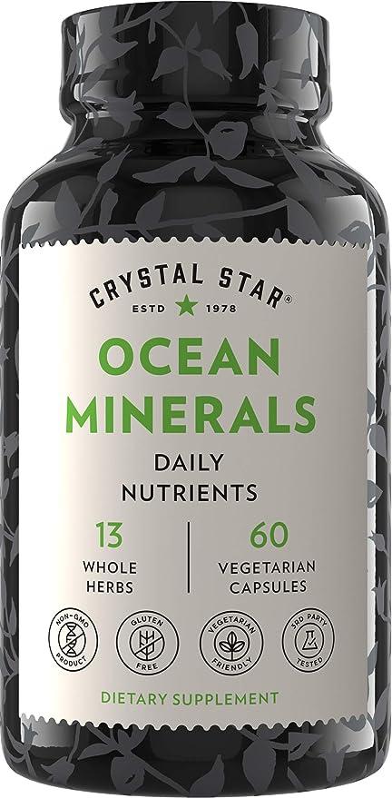 Crystal Star Ocean Minerals Supplement (60 Capsules) – Daily Herbal Supplement for Bone Health & Collagen – Sea Buckthorn, Spirulina & Organic Alfalfa - Non-GMO