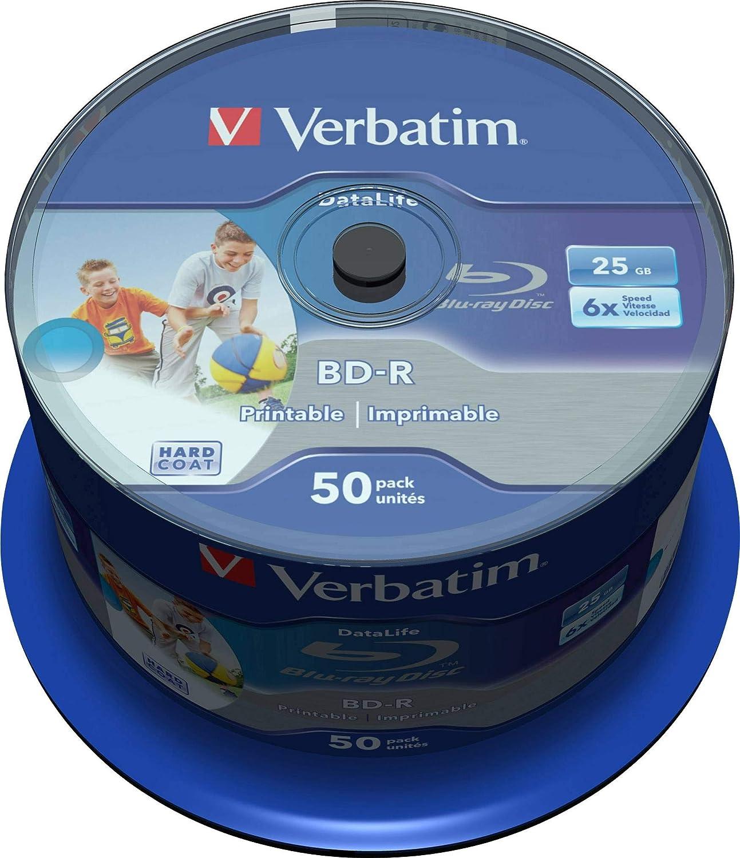Verbatim 43812 - Discos de Blu-ray printables e imprimibles, (25GB), 50 unidades: Amazon.es: Coche y moto