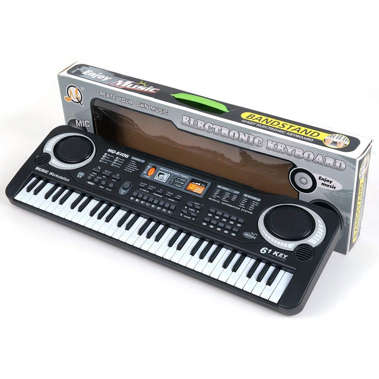 MachinYeseed Multifunktions und zarte 61 Tasten Digitale Musik Elektronische Tastatur Bord Spielzeug Geschenk E-Piano orgel für Kinder (Black & White)