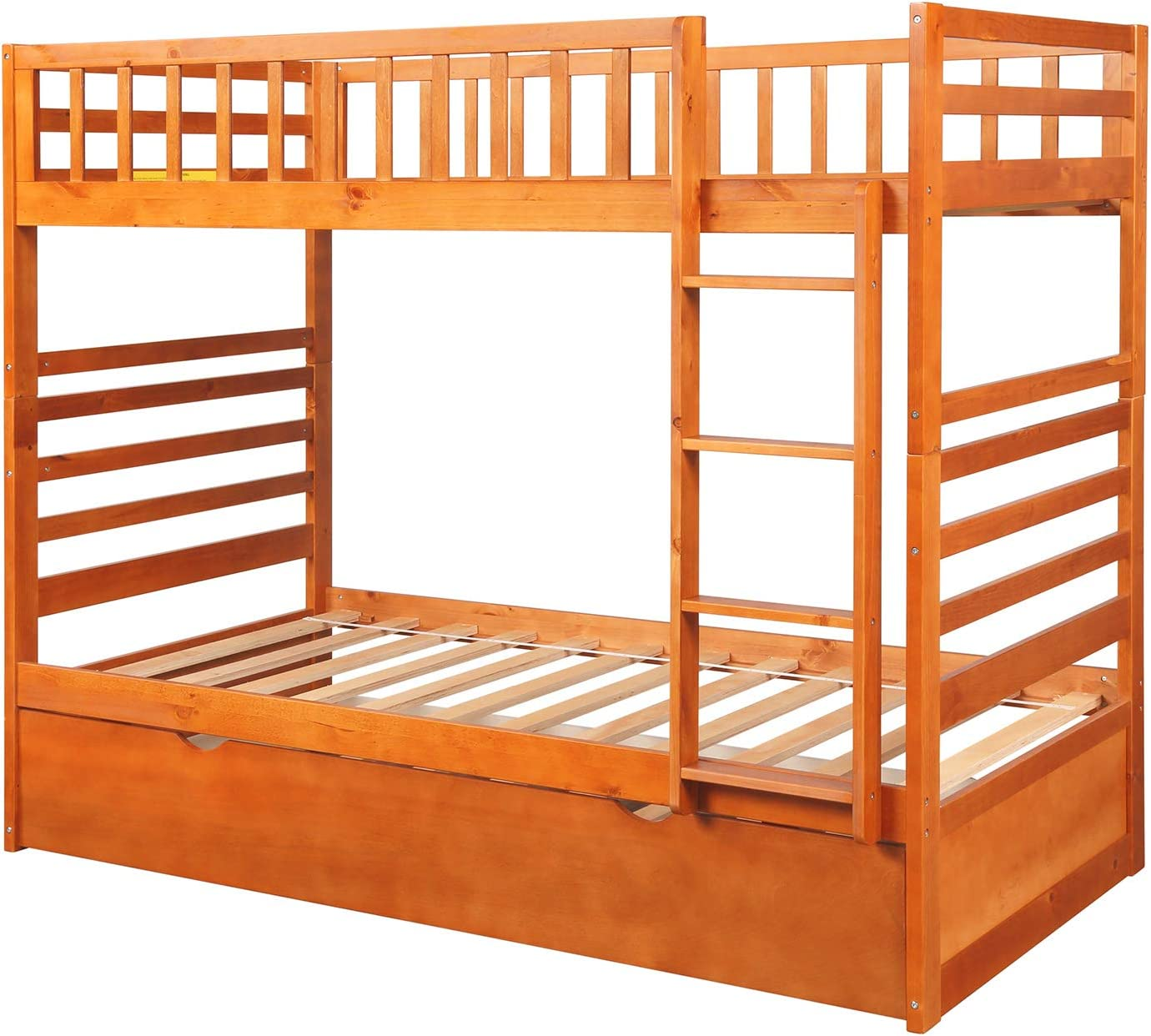 Twin Over Twin Bunk Bed with Trundle Solid Wood Bunk Bed for Kids