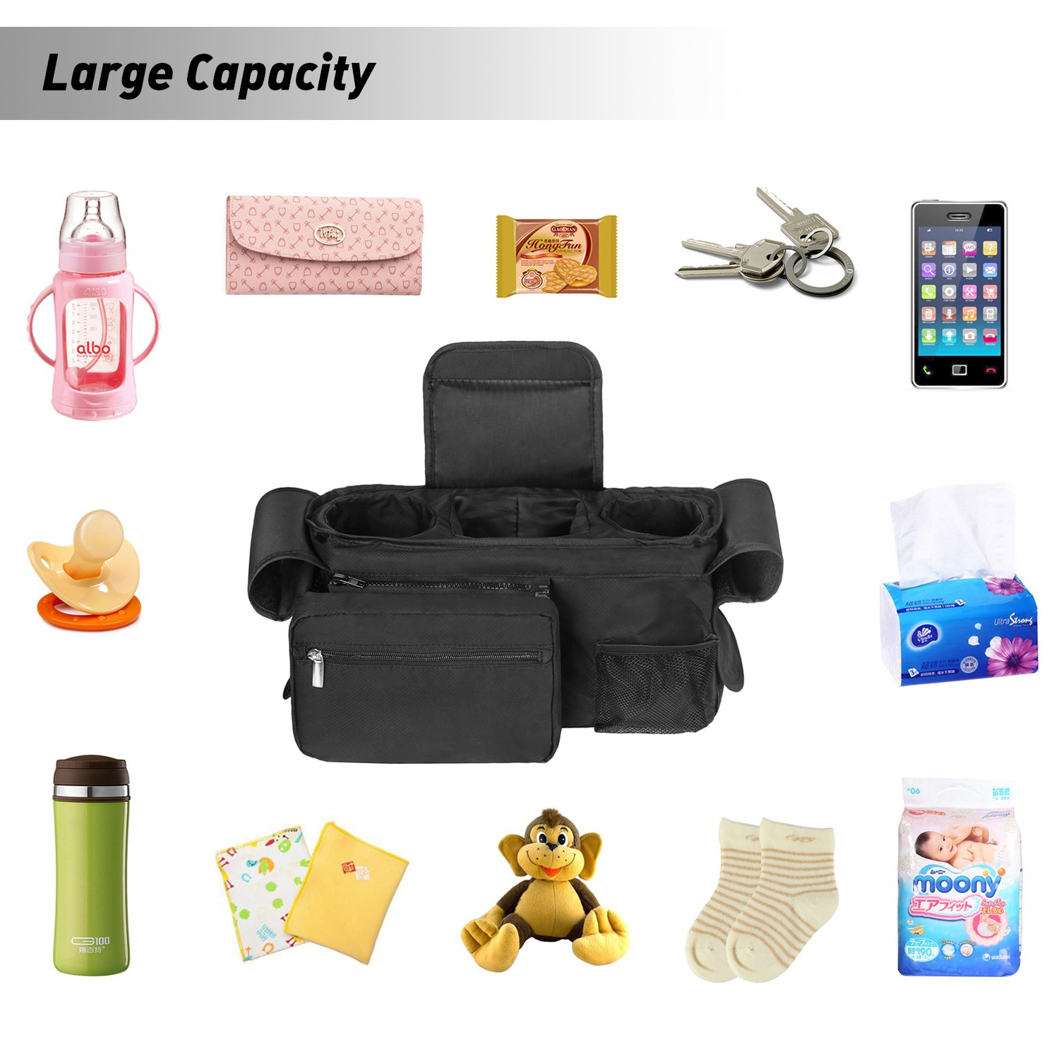 Pram Buggy Organizer Storage Bag for Baby Stroller Pushchair Simboom Stroller Organiser Black