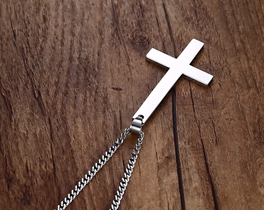 with Gift Bag Black Gold Silver Joielavie Jewellery Pendant Necklace Crucifix Cross Overturned Inverted Upside Down Stainless Steel Punk Rock Charm Gift for Men Women