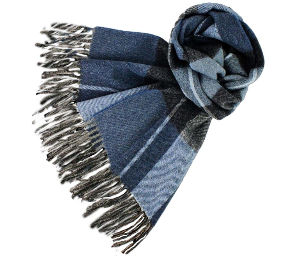 Stanley Lewis Men's Highlander Woollen Check Scarf Blue