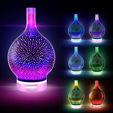 7 Color 3D Firework Glass Essential Oil Aroma Diffuser LED Ultrasonic Humidifier