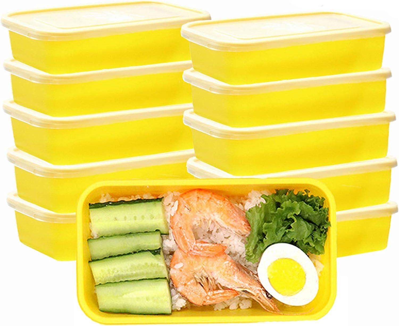 OITUGG Contenedores de preparación de Comidas con Tapas, Caja de Almuerzo Premium, sin BPA, Reutilizables, lavavajillas, microondas, congelador, Caja Fuerte, Paquete de 10 (Yellow)