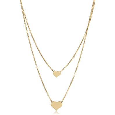 fe3757aba103d Amazon.com: 14k Yellow Gold Double Layer Heart Necklace (adjusts to ...