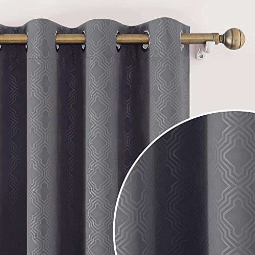 HOMEIDEAS Grey/Gray Blackout Curtains 52 x 108 Inch Geometric Moroccan Lattice Embossed Geo Trellis Curtains Room Darkening Bedroom Curtain Thermal Insulated Grommet Drapes